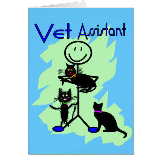 Vet Assistant Stick Person With Black Cats Greeting Card