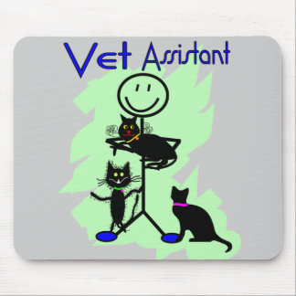 Vet Assistant Stick Person With Black Cats Mousepads