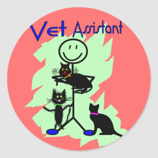 Vet Assistant Stick Person With Black Cats Round Stickers