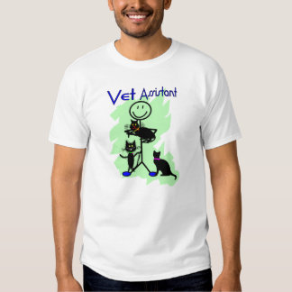 Vet Assistant Stick Person With Black Cats Tee Shirt