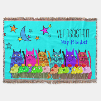 Vet Assistant Woven Blanket Cats Cupcakes Blue Throw