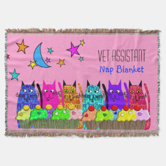Vet Assistant Woven Blanket Cats Cupcakes Throw Blanket