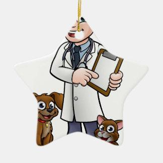 Vet Cartoon Character Holding Clipboard Ceramic Ornament