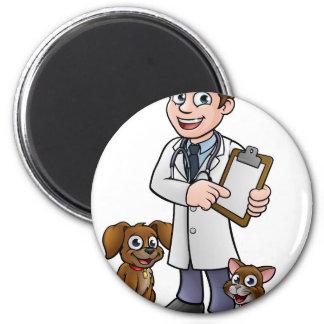 Vet Cartoon Character Holding Clipboard Magnet