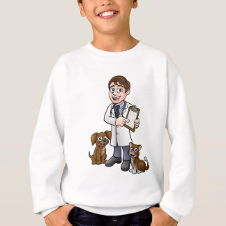 Vet Cartoon Character Holding Clipboard Sweatshirt