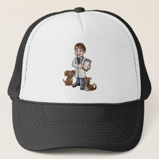 Vet Cartoon Character Holding Clipboard Trucker Hat