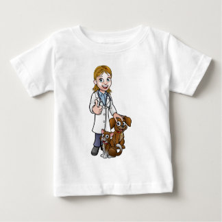 Vet Cartoon Character with Pet Cat and Dog Baby T-Shirt