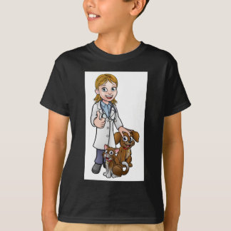 Vet Cartoon Character with Pet Cat and Dog T-Shirt
