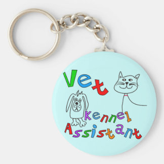 Vet Kennel Assistant T-Shirts and Gifts Basic Round Button Keychain