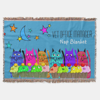 Vet Office Manager Woven Blanket Cats Blue Throw