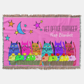 Vet Office Manager Woven Blanket Cats Pink Throw