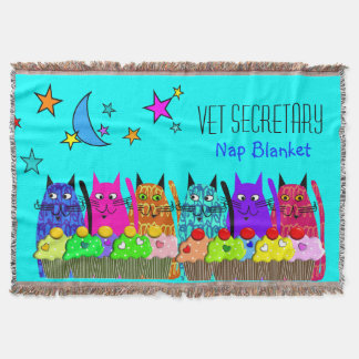 Vet Secretary Woven Blanket Cats Cupcakes Blue Throw
