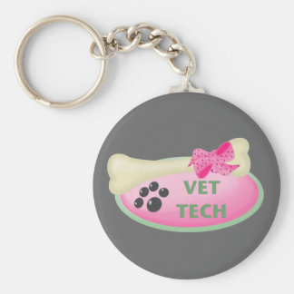 Vet Tech Basic Round Button Keychain