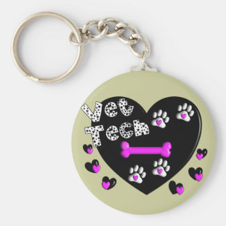 Vet Tech BLACK AND WHITE HEARTS Basic Round Button Keychain
