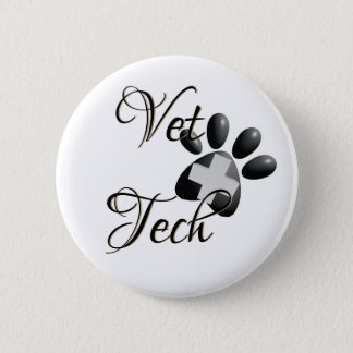 Vet Tech Cross and Paw 2 Inch Round Button
