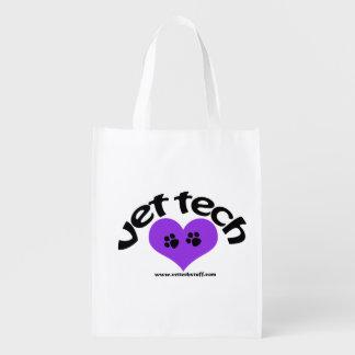 vet tech heart design purple reusable grocery bag