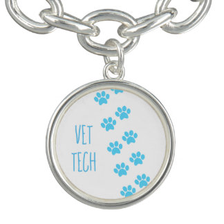 Vet Tech or Veterinarian Blue Paw Prints Bracelet