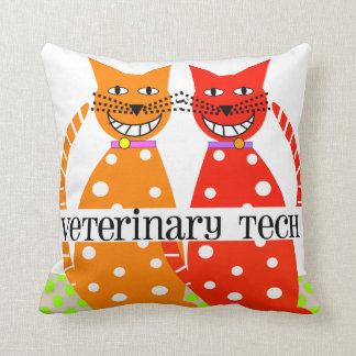 Vet Tech Pillow Whimsical Cats Design
