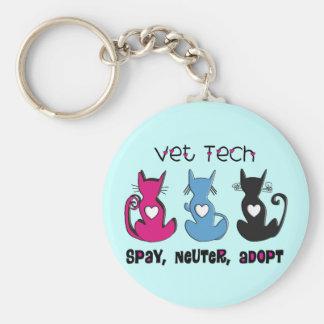 Vet Tech SPAY NEUTER ADOPT Black Cats Design Basic Round Button Keychain
