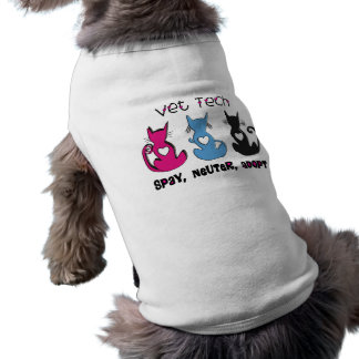Vet Tech SPAY NEUTER ADOPT Black Cats Design Dog Tshirt