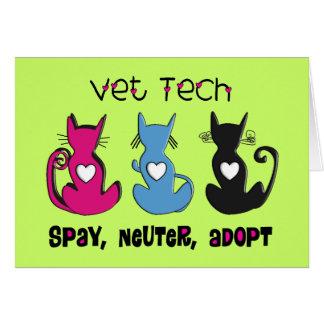 Vet Tech SPAY NEUTER ADOPT Black Cats Design Greeting Card