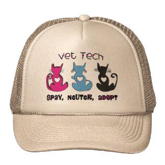 Vet Tech SPAY NEUTER ADOPT Black Cats Design Trucker Hat