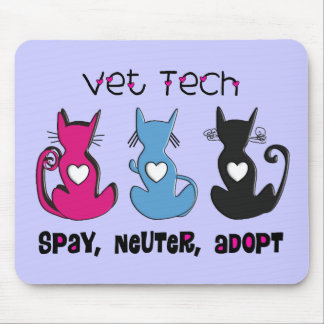 Vet Tech SPAY NEUTER ADOPT Black Cats Design Mouse Pads