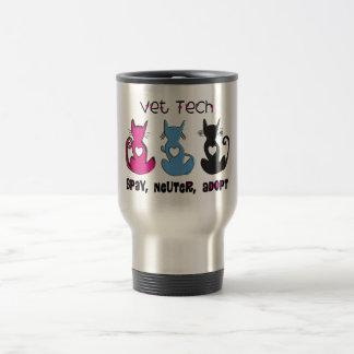 Vet Tech SPAY NEUTER ADOPT Black Cats Design Stainless Steel Travel Mug