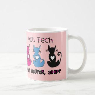 Vet Tech SPAY NEUTER ADOPT Black Cats Design Basic White Mug