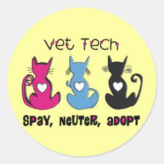 Vet Tech SPAY NEUTER ADOPT Black Cats Design Round Sticker