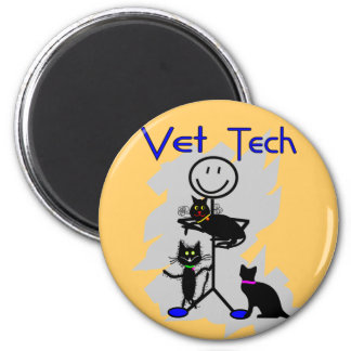 Vet Tech Stick Person With Black Cats 2 Inch Round Magnet