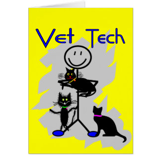 Vet Tech Stick Person With Black Cats Greeting Card