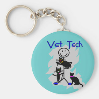 Vet Tech Stick Person With Black Cats Keychain
