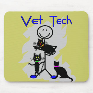Vet Tech Stick Person With Black Cats Mouse Pads