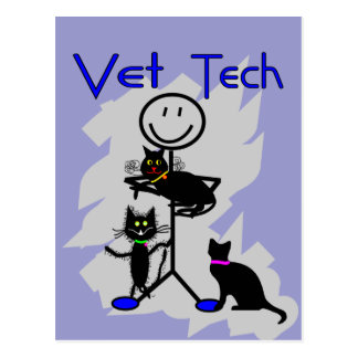 Vet Tech Stick Person With Black Cats Post Cards