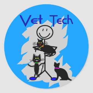 Vet Tech Stick Person With Black Cats Round Stickers