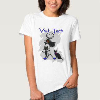 Vet Tech Stick Person With Black Cats Tees