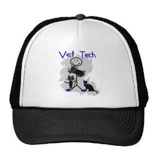 Vet Tech Stick Person With Black Cats Trucker Hat