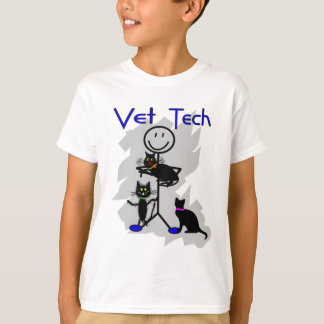 Vet Tech Stick Person With Black Cats Tshirt