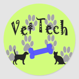 Vet TECH With Dog Bone Classic Round Sticker