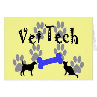 Vet TECH With Dog Bone Greeting Cards