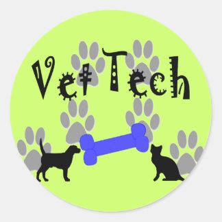 Vet TECH With Dog Bone Round Stickers