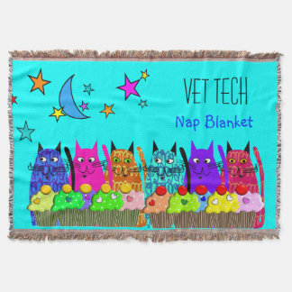Vet Tech Woven Blanket Cats Cupcakes Blue Throw