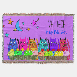 Vet Tech Woven Blanket Cats Cupcakes Purple Throw