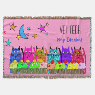 Vet Tech Woven Blanket Cats Cupcakes Throw Blanket