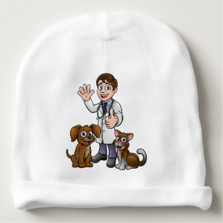 Vet with Pet Cat and Dog Cartoon Characters Baby Beanie