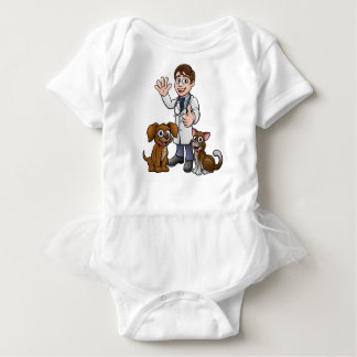 Vet with Pet Cat and Dog Cartoon Characters Baby Bodysuit