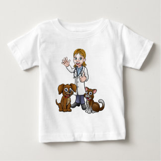 Vet with Pet Cat and Dog Cartoon Characters Baby T-Shirt