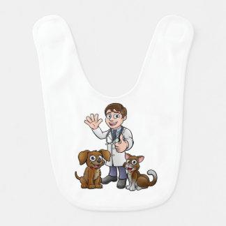 Vet with Pet Cat and Dog Cartoon Characters Bib
