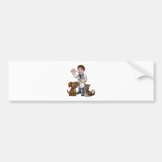 Vet with Pet Cat and Dog Cartoon Characters Bumper Sticker